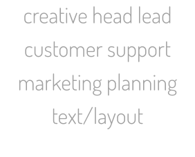 creative head lead customer support marketing planning text/layout